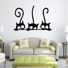 Наклейка на стену - Любознательные Котики