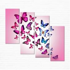 Модульная картина - Розовые Бабочки