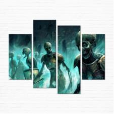 Модульная картина - Скелеты Зомби